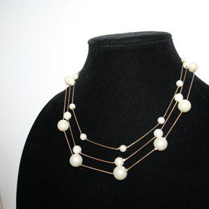 Vintage Jewelry - Vintage gold and pearl layered necklace